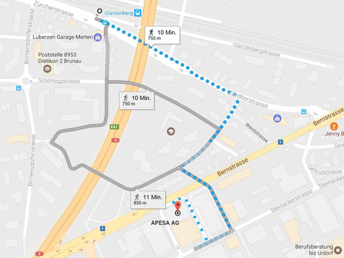 Fussweg zu APESA AG, CH-8902 Urdorf ab Bahnhof Glanzenberg